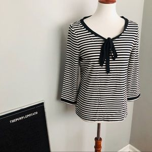 Talbots Black/White Striped 3/4Sleeve Neck Tie Top
